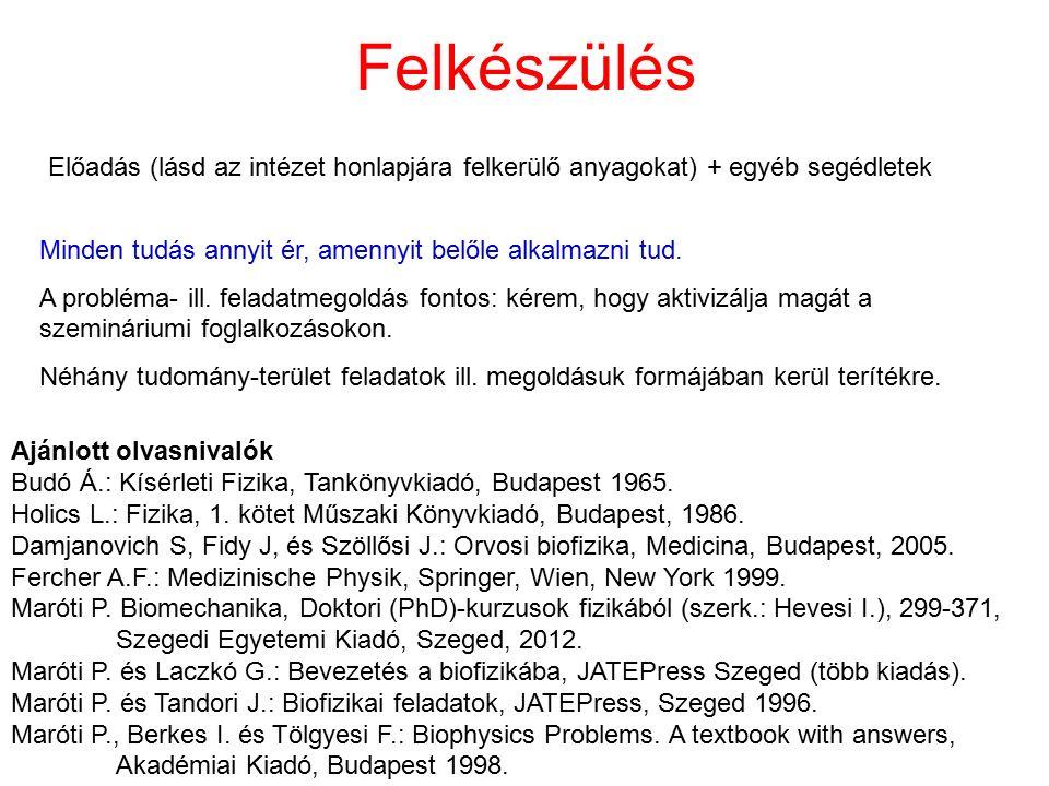 Felkészülés Ajánlott olvasnivalók Budó Á.: Kísérleti Fizika, Tankönyvkiadó, Budapest 1965. Holics L.: Fizika, 1. kötet Műszaki Könyvkiadó, Budapest, 1