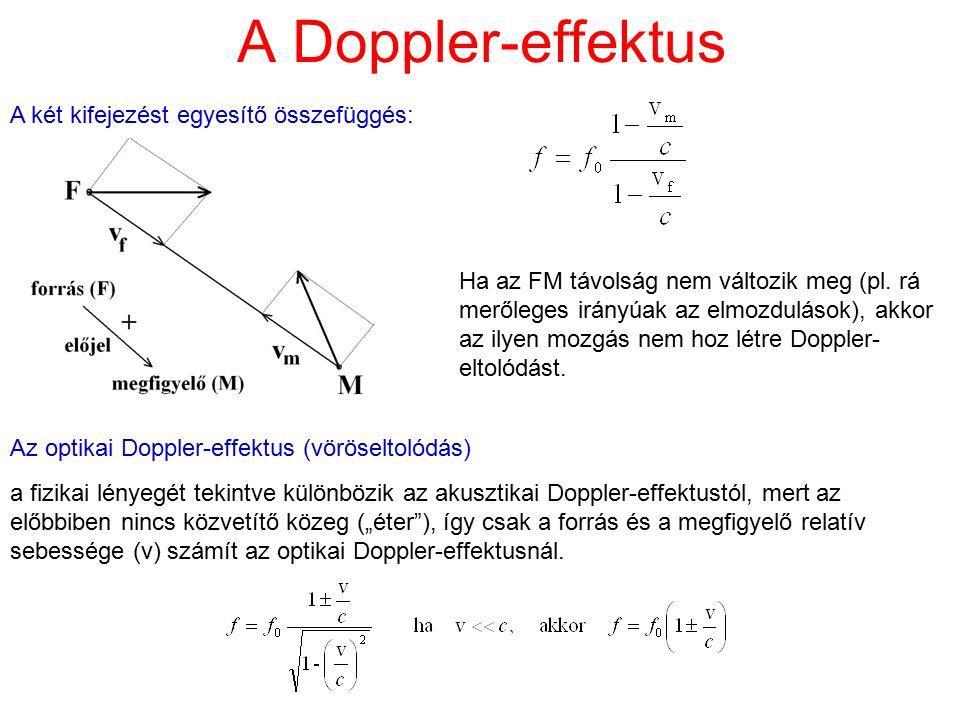 A Doppler-effektus A két kifejezést egyesítő összefüggés: Ha az FM távolság nem változik meg (pl. rá merőleges irányúak az elmozdulások), akkor az ily
