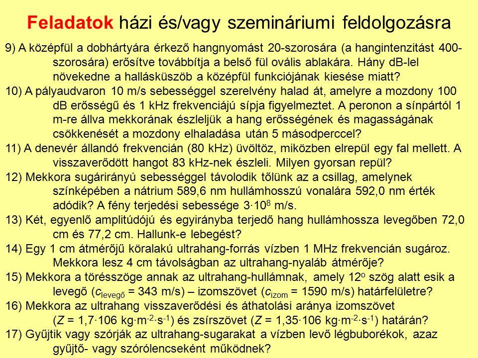 Feladatok házi és/vagy szemináriumi feldolgozásra 9) A középfül a dobhártyára érkező hangnyomást 20-szorosára (a hangintenzitást 400- szorosára) erősí