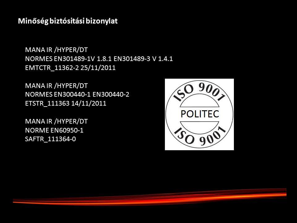 Minőség biztósitási bizonylat MANA IR /HYPER/DT NORMES EN301489-1V 1.8.1 EN301489-3 V 1.4.1 EMTCTR_11362-2 25/11/2011 MANA IR /HYPER/DT NORMES EN300440-1 EN300440-2 ETSTR_111363 14/11/2011 MANA IR /HYPER/DT NORME EN60950-1 SAFTR_111364-0