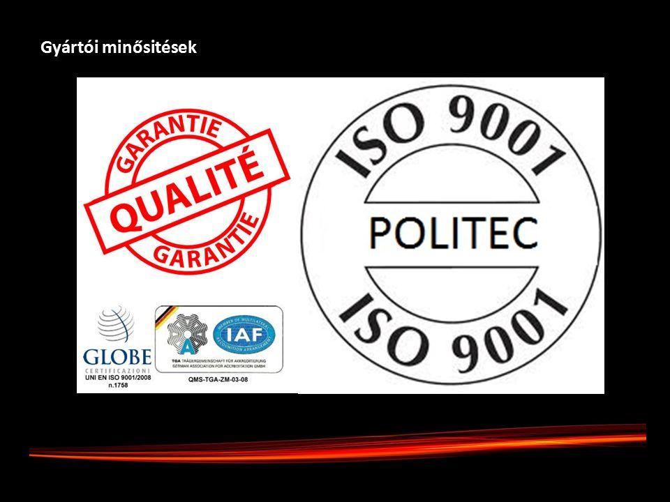 Gyártói minősitések