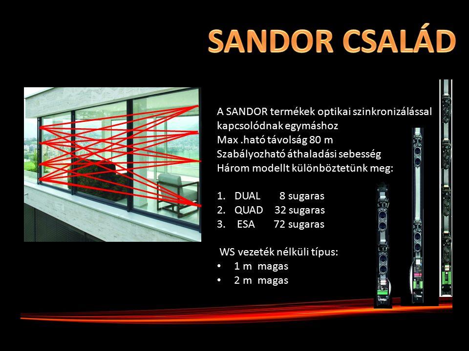 A SANDOR termékek optikai szinkronizálással kapcsolódnak egymáshoz Max.ható távolság 80 m Szabályozható áthaladási sebesség Három modellt különböztetünk meg: 1.DUAL 8 sugaras 2.QUAD 32 sugaras 3.