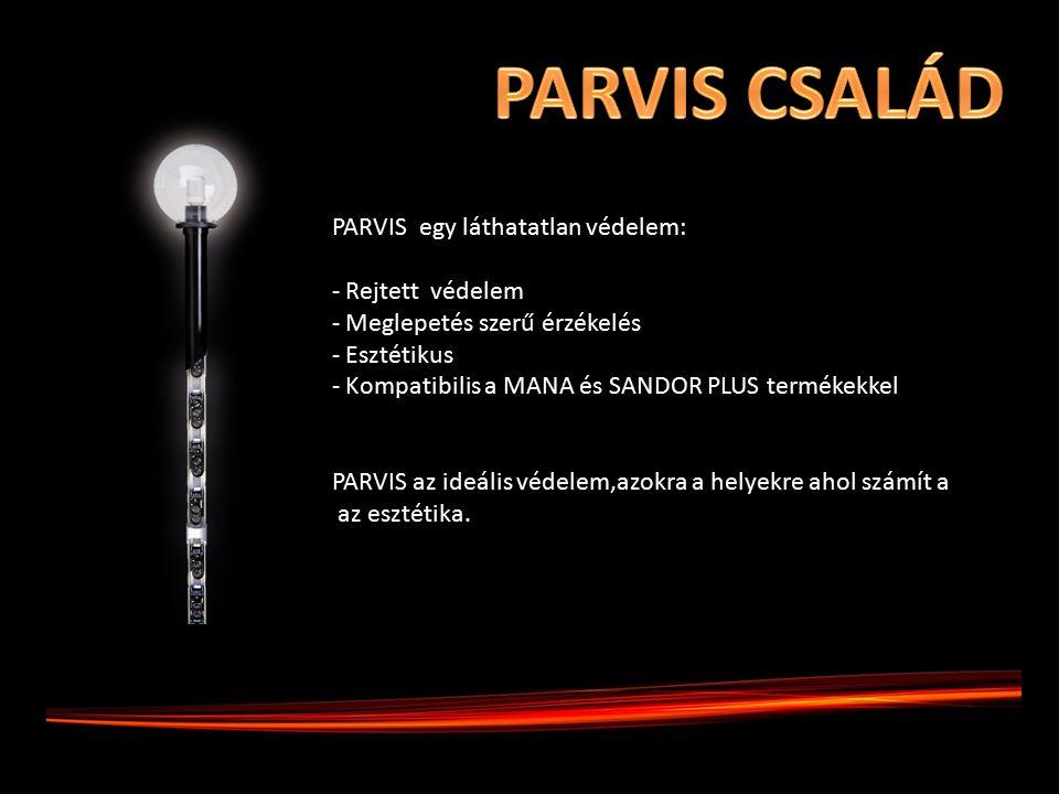 PARVIS egy láthatatlan védelem: - Rejtett védelem - Meglepetés szerű érzékelés - Esztétikus - Kompatibilis a MANA és SANDOR PLUS termékekkel PARVIS az ideális védelem,azokra a helyekre ahol számít a az esztétika.