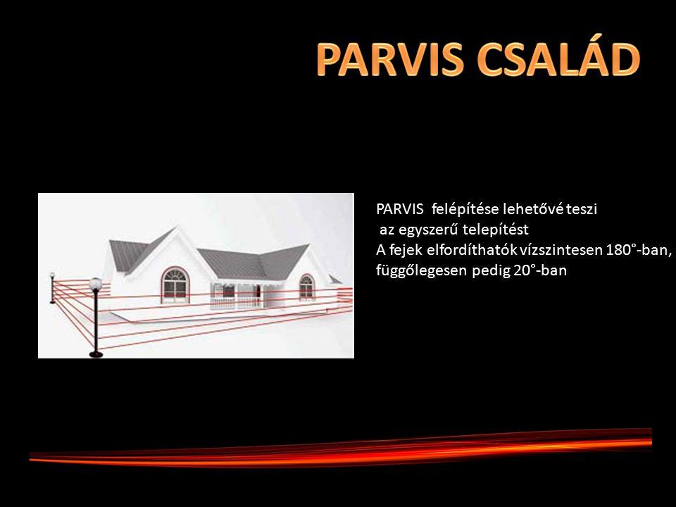 PARVIS felépítése lehetővé teszi az egyszerű telepítést A fejek elfordíthatók vízszintesen 180°-ban, függőlegesen pedig 20°-ban