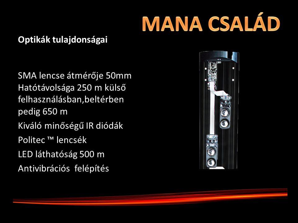 Optikák tulajdonságai SMA lencse átmérője 50mm Hatótávolsága 250 m külső felhasználásban,beltérben pedig 650 m Kiváló minőségű IR diódák Politec ™ len