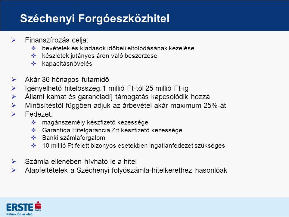 Széchenyi Forgóeszközhitel  Finanszírozás célja:  bevételek és kiadások időbeli eltolódásának kezelése  készletek jutányos áron való beszerzése  k