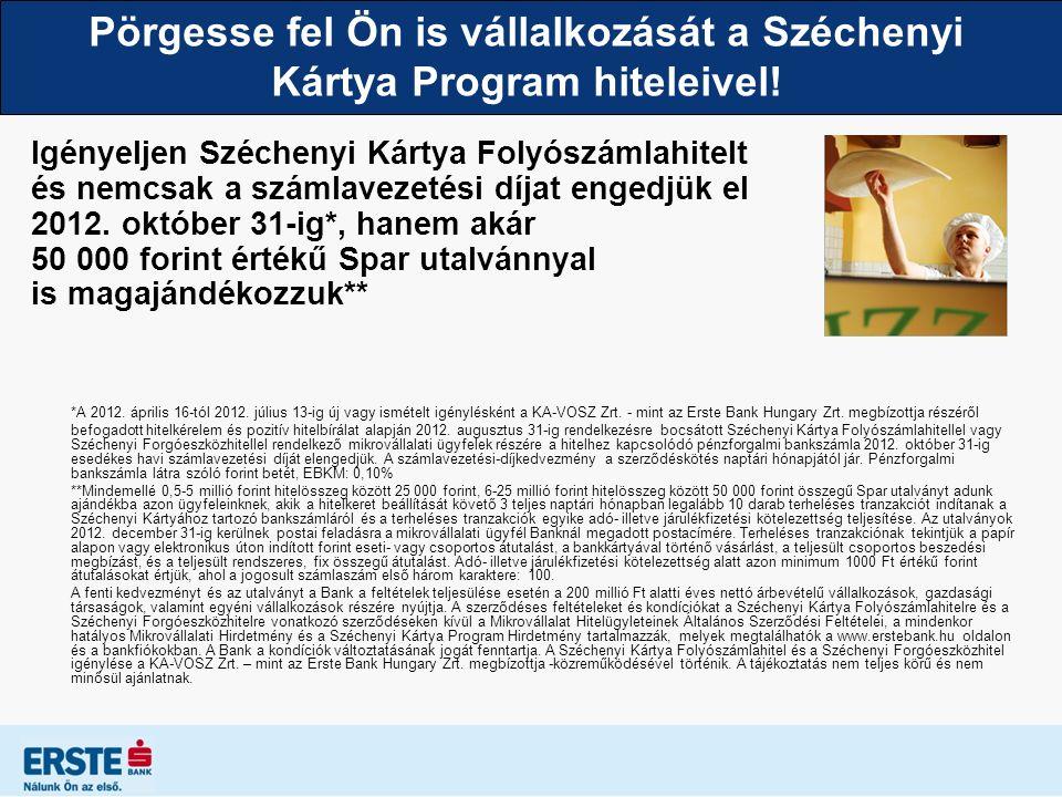 Pörgesse fel Ön is vállalkozását a Széchenyi Kártya Program hiteleivel! Igényeljen Széchenyi Kártya Folyószámlahitelt és nemcsak a számlavezetési díja