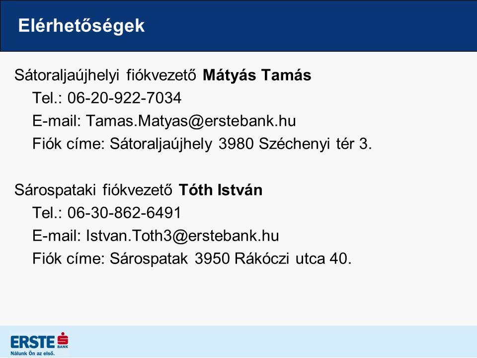 Elérhetőségek Sátoraljaújhelyi fiókvezető Mátyás Tamás Tel.: 06-20-922-7034 E-mail: Tamas.Matyas@erstebank.hu Fiók címe: Sátoraljaújhely 3980 Széchenyi tér 3.