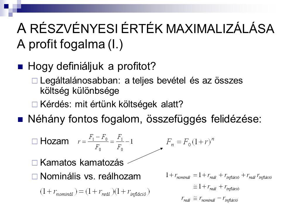 Hogy definiáljuk a profitot.