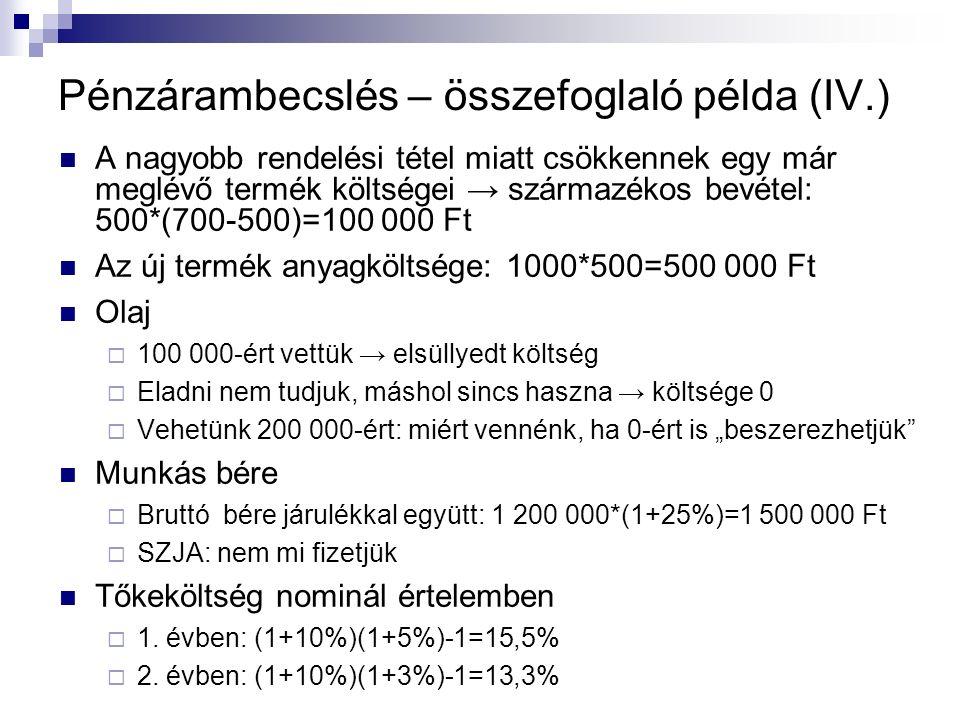 """Pénzárambecslés – összefoglaló példa (IV.) A nagyobb rendelési tétel miatt csökkennek egy már meglévő termék költségei → származékos bevétel: 500*(700-500)=100 000 Ft Az új termék anyagköltsége: 1000*500=500 000 Ft Olaj  100 000-ért vettük → elsüllyedt költség  Eladni nem tudjuk, máshol sincs haszna → költsége 0  Vehetünk 200 000-ért: miért vennénk, ha 0-ért is """"beszerezhetjük Munkás bére  Bruttó bére járulékkal együtt: 1 200 000*(1+25%)=1 500 000 Ft  SZJA: nem mi fizetjük Tőkeköltség nominál értelemben  1."""