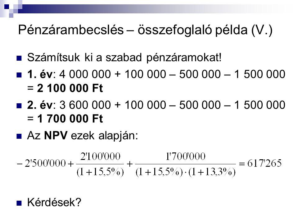 Pénzárambecslés – összefoglaló példa (V.) Számítsuk ki a szabad pénzáramokat.