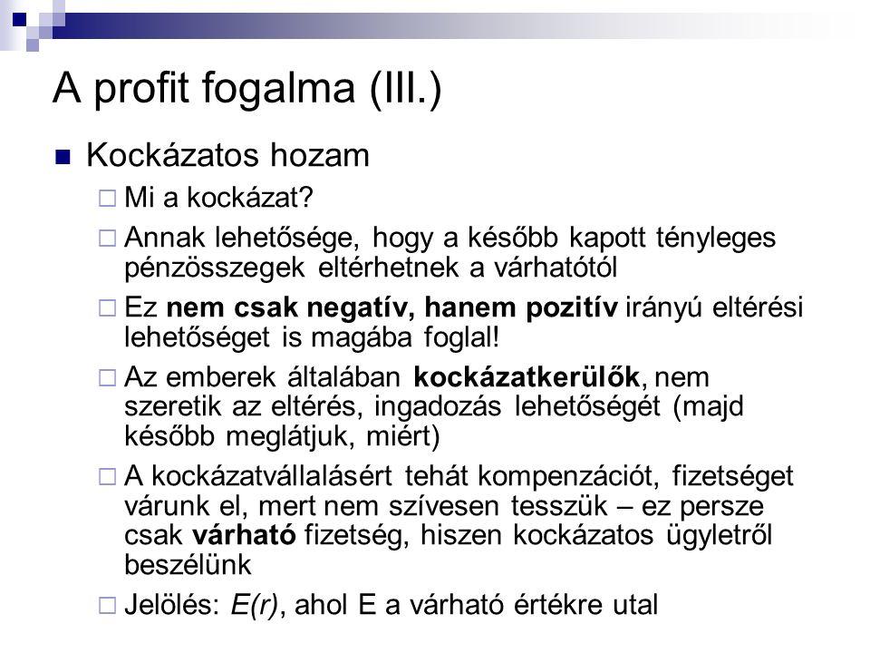 A profit fogalma (III.) Kockázatos hozam  Mi a kockázat.
