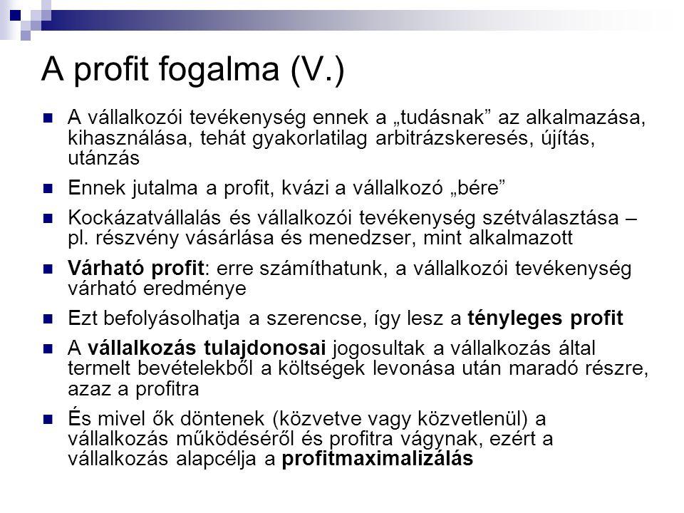 """A profit fogalma (V.) A vállalkozói tevékenység ennek a """"tudásnak az alkalmazása, kihasználása, tehát gyakorlatilag arbitrázskeresés, újítás, utánzás Ennek jutalma a profit, kvázi a vállalkozó """"bére Kockázatvállalás és vállalkozói tevékenység szétválasztása – pl."""