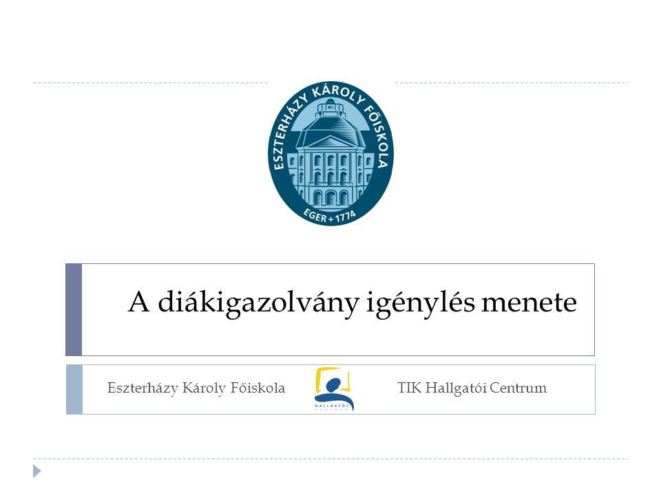 A diákigazolvány igénylés menete TIK Hallgatói CentrumEszterházy Károly Főiskola