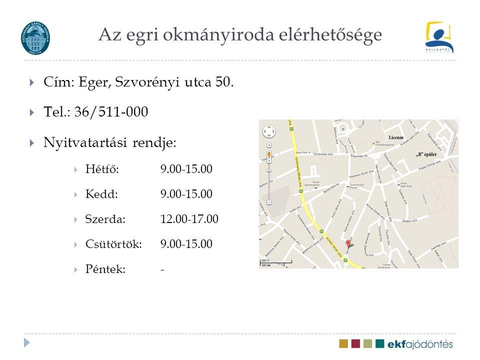 Az egri okmányiroda elérhetősége  Cím: Eger, Szvorényi utca 50.  Tel.: 36/511-000  Nyitvatartási rendje:  Hétfő: 9.00-15.00  Kedd: 9.00-15.00  S