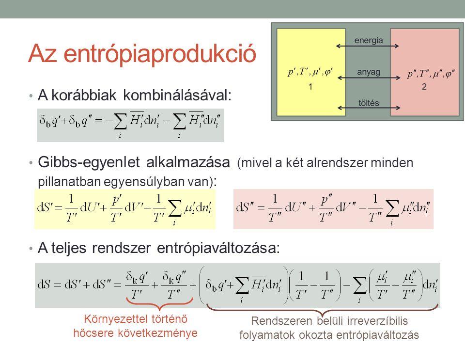 Az entrópiaprodukció A korábbiak kombinálásával: Gibbs-egyenlet alkalmazása (mivel a két alrendszer minden pillanatban egyensúlyban van) : A teljes rendszer entrópiaváltozása: Környezettel történő hőcsere következménye Rendszeren belüli irreverzíbilis folyamatok okozta entrópiaváltozás