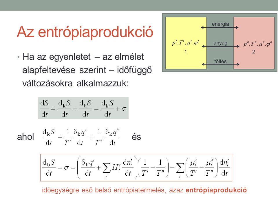 Az entrópiaprodukció Ha az egyenletet – az elmélet alapfeltevése szerint – időfüggő változásokra alkalmazzuk: ahol és időegységre eső belső entrópiatermelés, azaz entrópiaprodukció