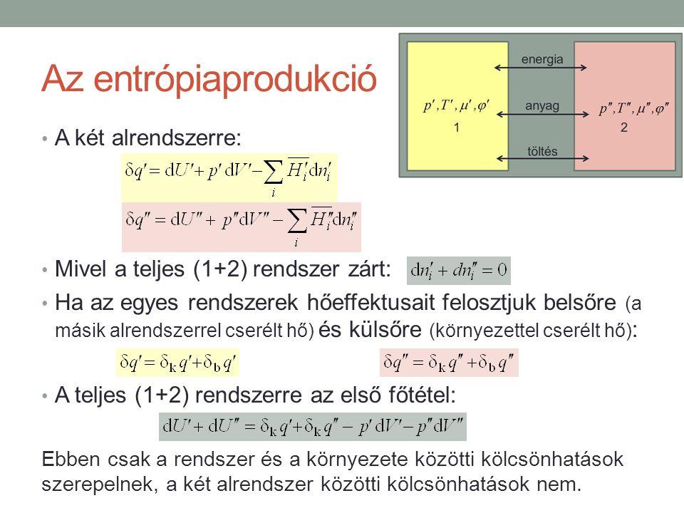Az entrópiaprodukció A két alrendszerre: Mivel a teljes (1+2) rendszer zárt: Ha az egyes rendszerek hőeffektusait felosztjuk belsőre (a másik alrendszerrel cserélt hő) és külsőre (környezettel cserélt hő) : A teljes (1+2) rendszerre az első főtétel: Ebben csak a rendszer és a környezete közötti kölcsönhatások szerepelnek, a két alrendszer közötti kölcsönhatások nem.