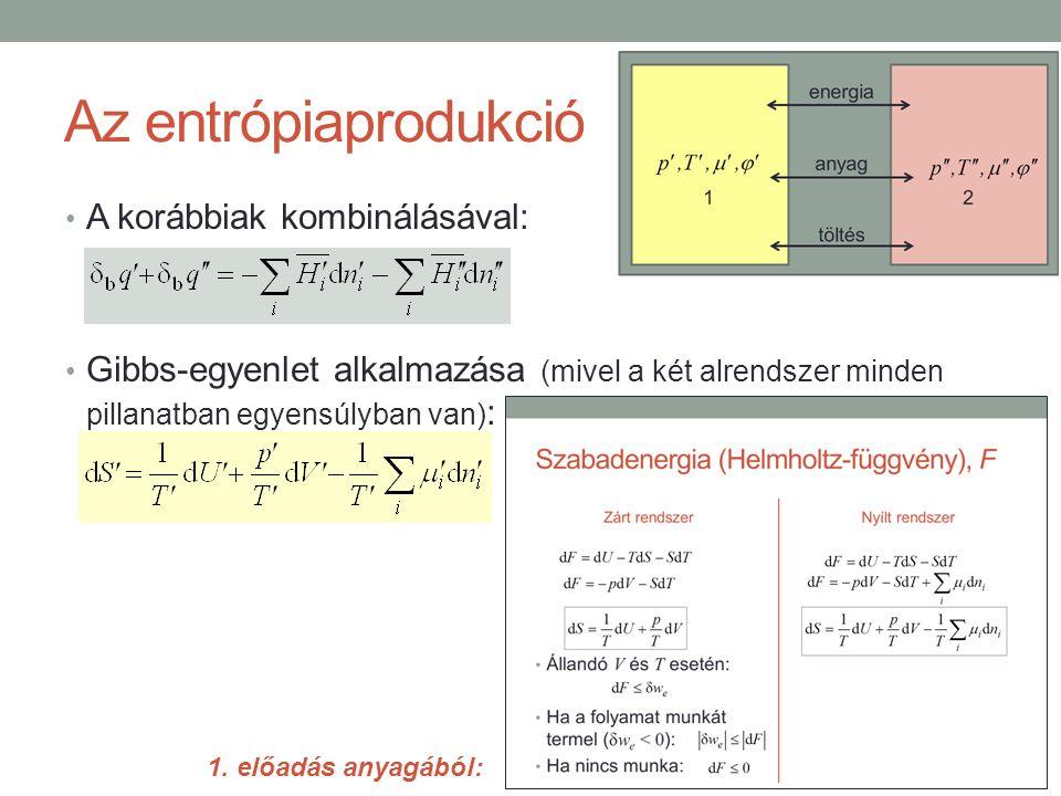 Az entrópiaprodukció A korábbiak kombinálásával: Gibbs-egyenlet alkalmazása (mivel a két alrendszer minden pillanatban egyensúlyban van) : 1.