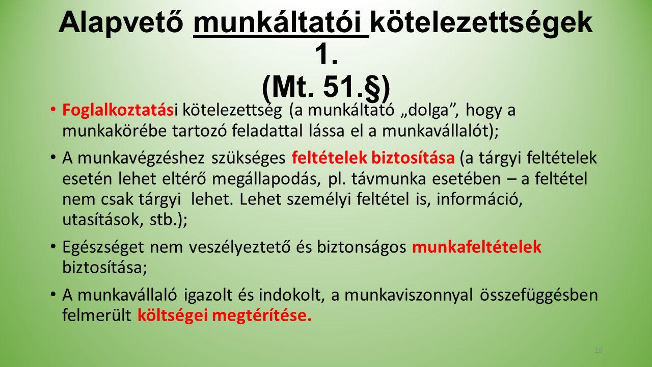 Alapvető munkáltatói kötelezettségek 1. (Mt.