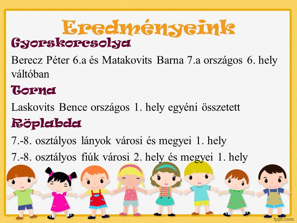 Eredményeink Gyorskorcsolya Berecz Péter 6.a és Matakovits Barna 7.a országos 6.