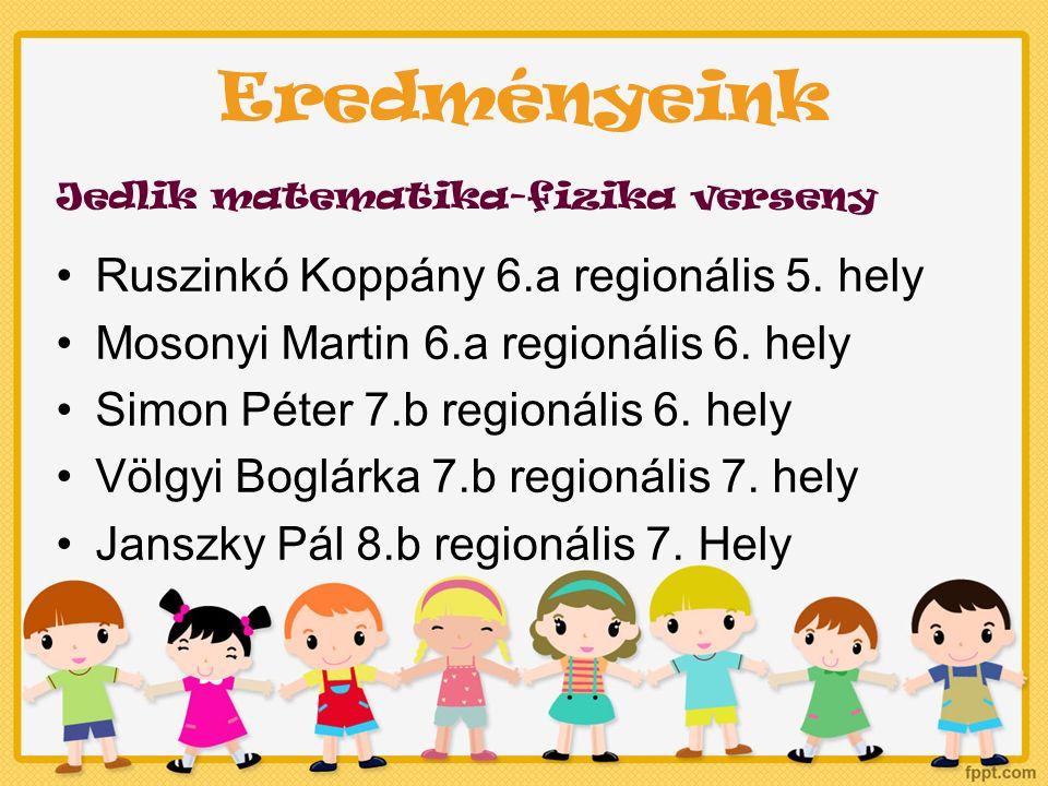 Eredményeink Jedlik matematika-fizika verseny Ruszinkó Koppány 6.a regionális 5.