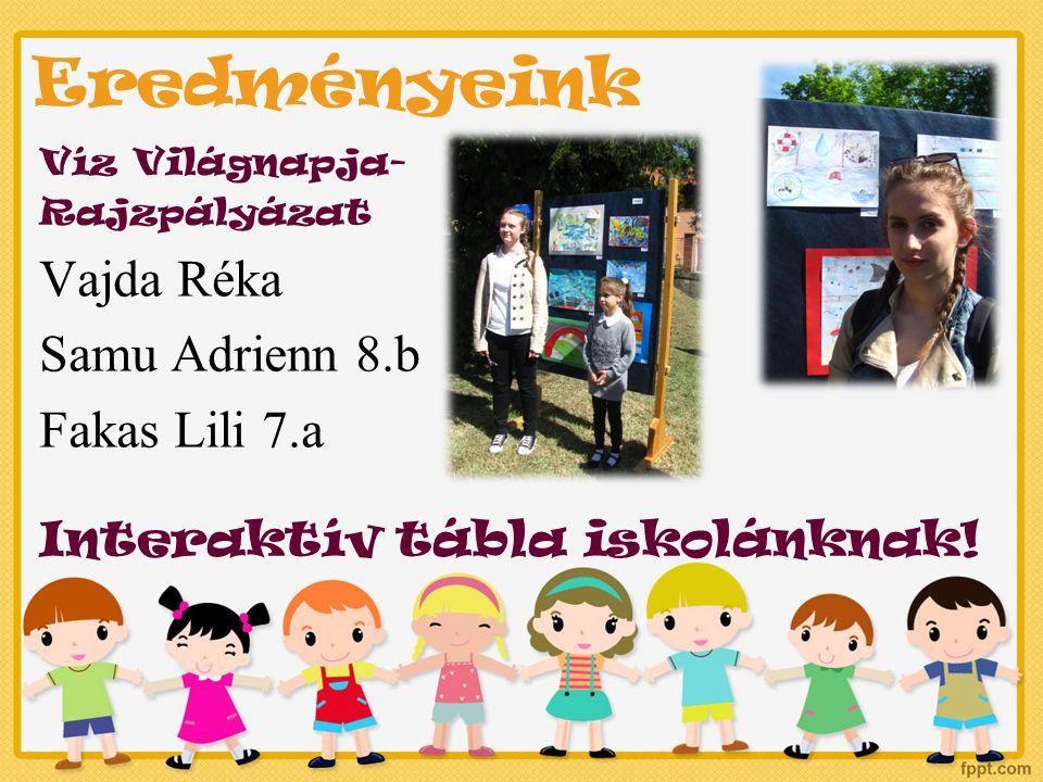 Eredményeink Víz Világnapja- Rajzpályázat Vajda Réka Samu Adrienn 8.b Fakas Lili 7.a Interaktív tábla iskolánknak!