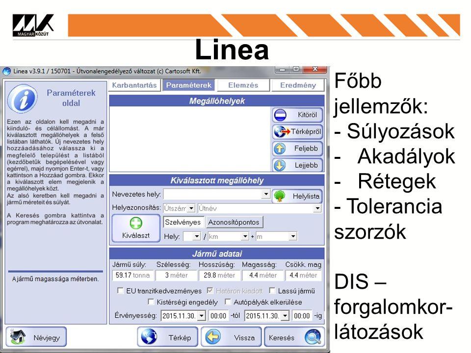 Linea Főbb jellemzők: - Súlyozások -Akadályok -Rétegek - Tolerancia szorzók DIS – forgalomkor- látozások