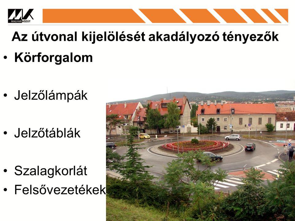 Körforgalom Jelzőlámpák Jelzőtáblák Szalagkorlát Felsővezetékek Az útvonal kijelölését akadályozó tényezők