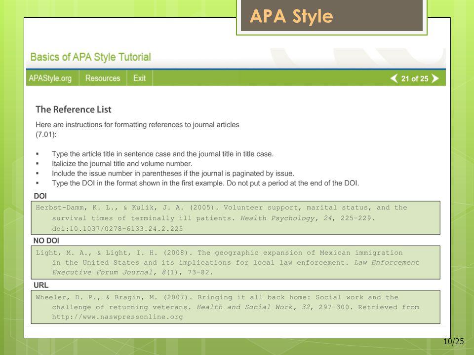 APA Style 10/25