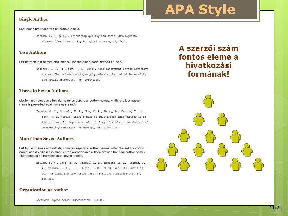APA Style A szerzői szám fontos eleme a hivatkozási formának! 11/25