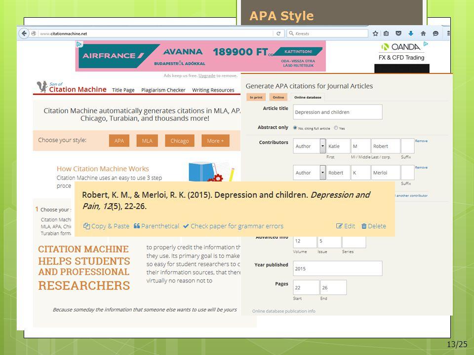 APA Style 13/25