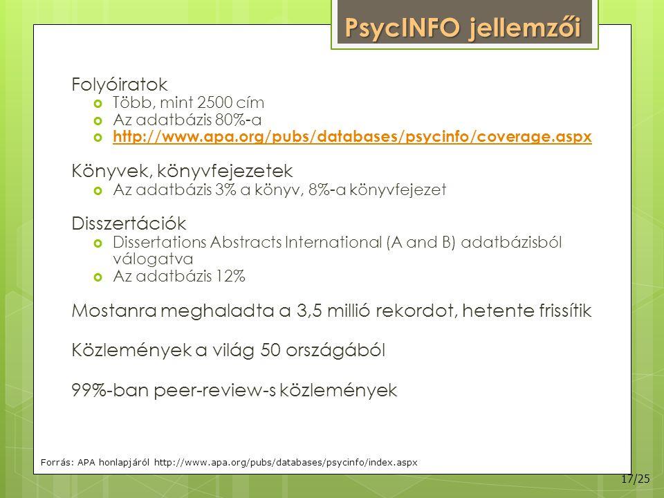 PsycINFO jellemzői Folyóiratok  Több, mint 2500 cím  Az adatbázis 80%-a  http://www.apa.org/pubs/databases/psycinfo/coverage.aspx http://www.apa.org/pubs/databases/psycinfo/coverage.aspx Könyvek, könyvfejezetek  Az adatbázis 3% a könyv, 8%-a könyvfejezet Disszertációk  Dissertations Abstracts International (A and B) adatbázisból válogatva  Az adatbázis 12% Mostanra meghaladta a 3,5 millió rekordot, hetente frissítik Közlemények a világ 50 országából 99%-ban peer-review-s közlemények Forrás: APA honlapjáról http://www.apa.org/pubs/databases/psycinfo/index.aspx 17/25
