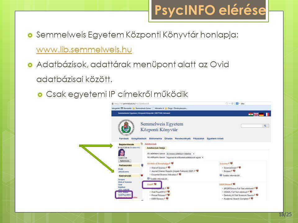 PsycINFO elérése  Semmelweis Egyetem Központi Könyvtár honlapja: www.lib.semmelweis.hu www.lib.semmelweis.hu  Adatbázisok, adattárak menüpont alatt az Ovid adatbázisai között.