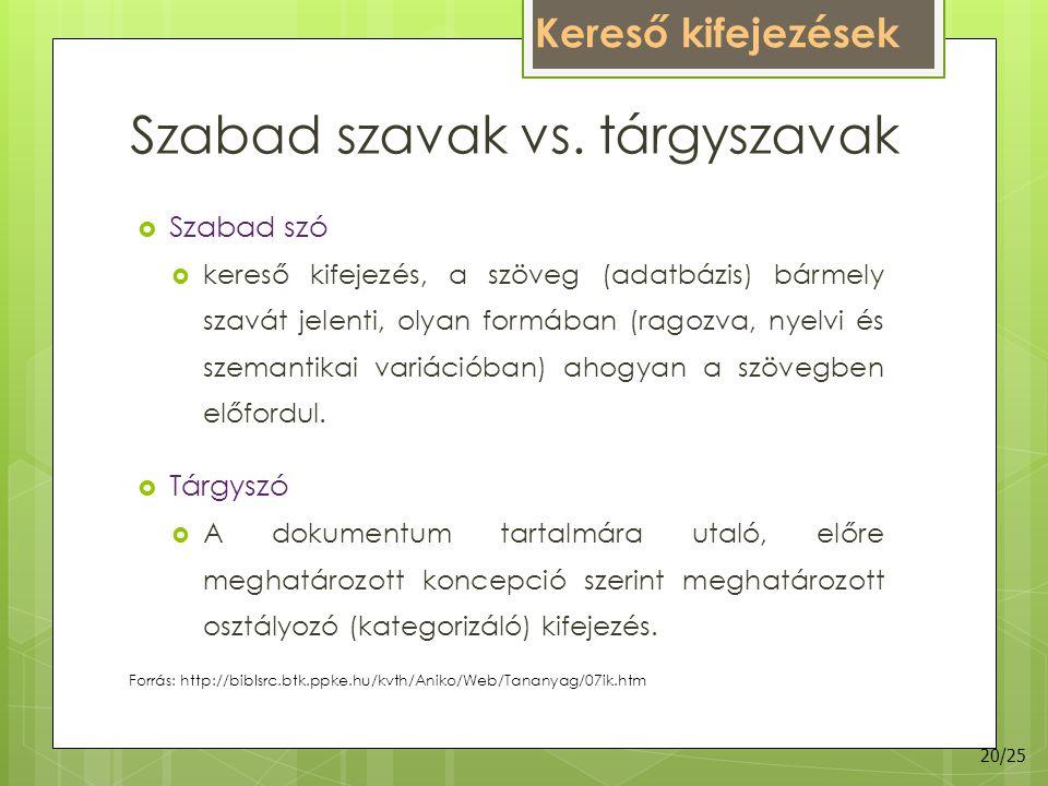 Szabad szavak vs. tárgyszavak  Szabad szó  kereső kifejezés, a szöveg (adatbázis) bármely szavát jelenti, olyan formában (ragozva, nyelvi és szemant