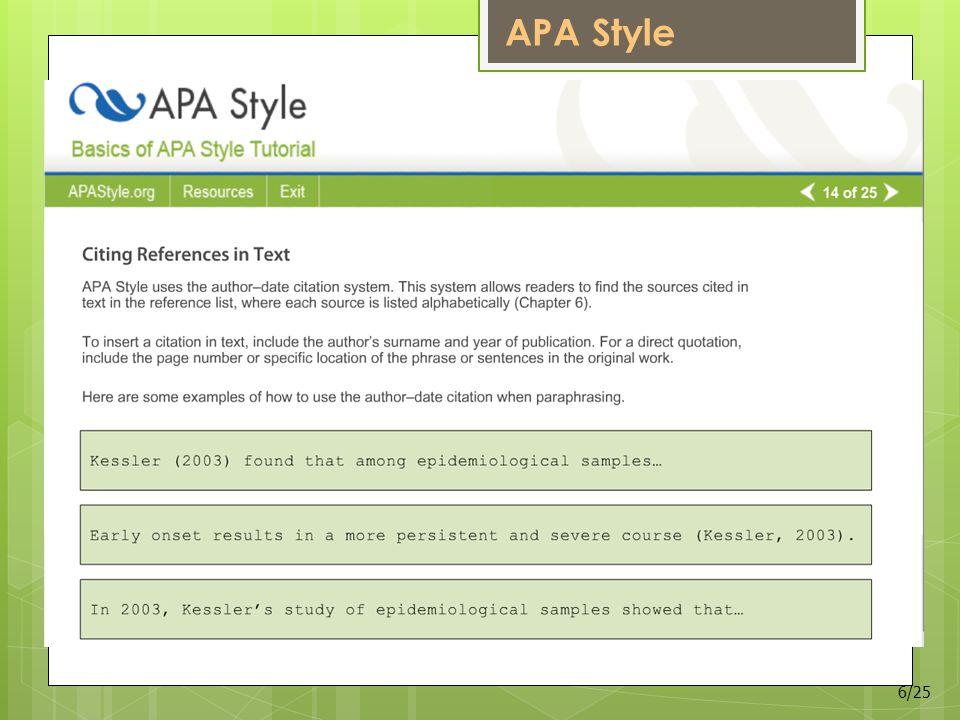 APA Style 6/25