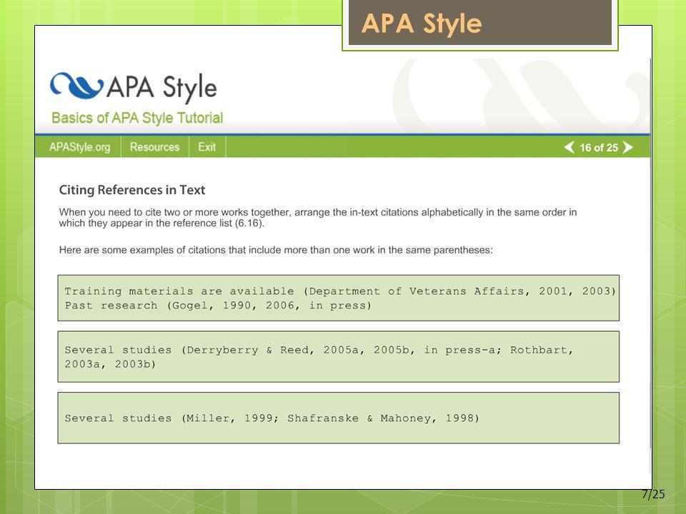 APA Style 7/25