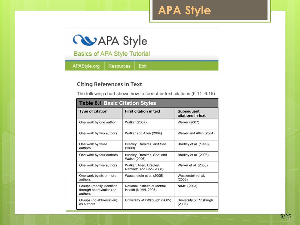 APA Style 8/25
