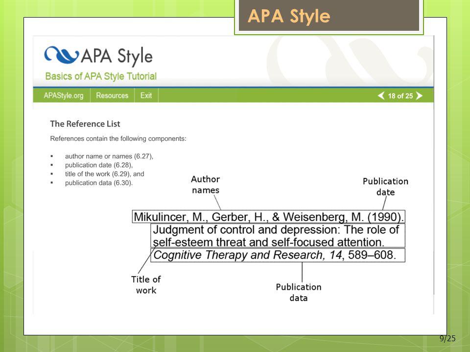 APA Style 9/25