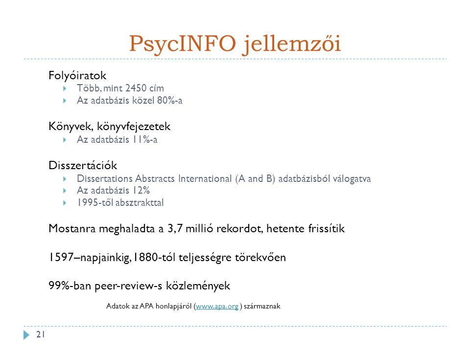 PsycINFO jellemzői Adatok az APA honlapjáról (www.apa.org ) származnakwww.apa.org 21 Folyóiratok  Több, mint 2450 cím  Az adatbázis közel 80%-a Könyvek, könyvfejezetek  Az adatbázis 11%-a Disszertációk  Dissertations Abstracts International (A and B) adatbázisból válogatva  Az adatbázis 12%  1995-től absztrakttal Mostanra meghaladta a 3,7 millió rekordot, hetente frissítik 1597–napjainkig, 1880-tól teljességre törekvően 99%-ban peer-review-s közlemények