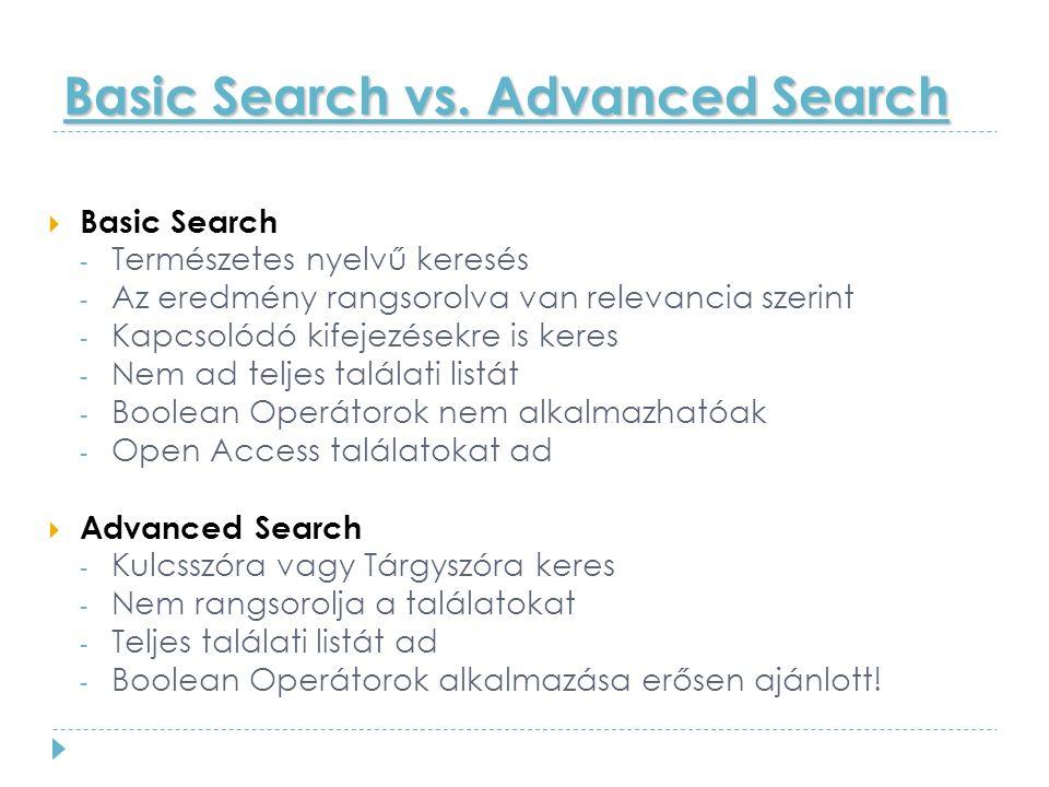 Basic Search vs.