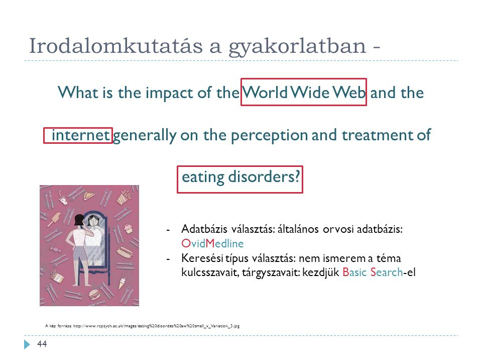 Irodalomkutatás a gyakorlatban - What is the impact of the World Wide Web and the internet generally on the perception and treatment of eating disorders.