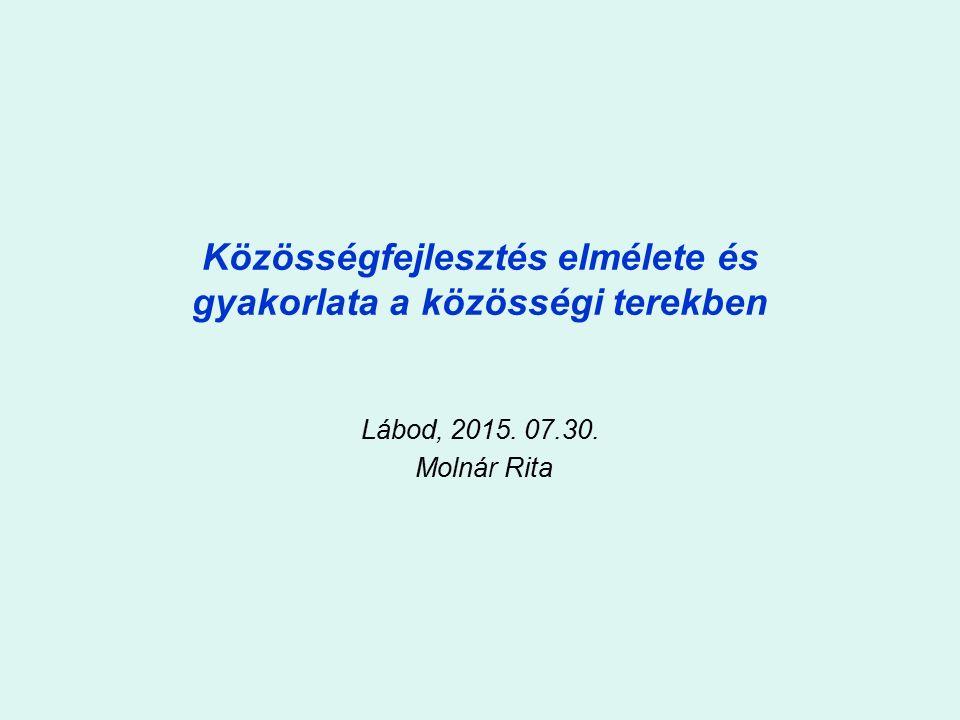 Közösségfejlesztés elmélete és gyakorlata a közösségi terekben Lábod, 2015. 07.30. Molnár Rita