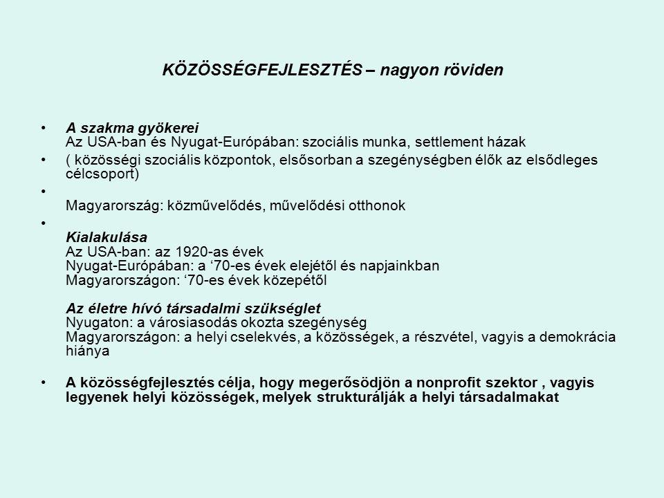 KÖZÖSSÉGFEJLESZTÉS – nagyon röviden A szakma gyökerei Az USA-ban és Nyugat-Európában: szociális munka, settlement házak ( közösségi szociális központok, elsősorban a szegénységben élők az elsődleges célcsoport) Magyarország: közművelődés, művelődési otthonok Kialakulása Az USA-ban: az 1920-as évek Nyugat-Európában: a '70-es évek elejétől és napjainkban Magyarországon: '70-es évek közepétől Az életre hívó társadalmi szükséglet Nyugaton: a városiasodás okozta szegénység Magyarországon: a helyi cselekvés, a közösségek, a részvétel, vagyis a demokrácia hiánya A közösségfejlesztés célja, hogy megerősödjön a nonprofit szektor, vagyis legyenek helyi közösségek, melyek strukturálják a helyi társadalmakat