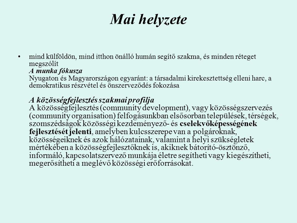 Mai helyzete mind külföldön, mind itthon önálló humán segítő szakma, és minden réteget megszólít A munka fókusza Nyugaton és Magyarországon egyaránt: a társadalmi kirekesztettség elleni harc, a demokratikus részvétel és önszerveződés fokozása A közösségfejlesztés szakmai profilja A közösségfejlesztés (community development), vagy közösségszervezés (community organisation) felfogásunkban elsősorban települések, térségek, szomszédságok közösségi kezdeményező- és cselekvőképességének fejlesztését jelenti, amelyben kulcsszerepe van a polgároknak, közösségeiknek és azok hálózatainak, valamint a helyi szükségletek mértékében a közösségfejlesztőknek is, akiknek bátorító-ösztönző, informáló, kapcsolatszervező munkája életre segítheti vagy kiegészítheti, megerősítheti a meglévő közösségi erőforrásokat.