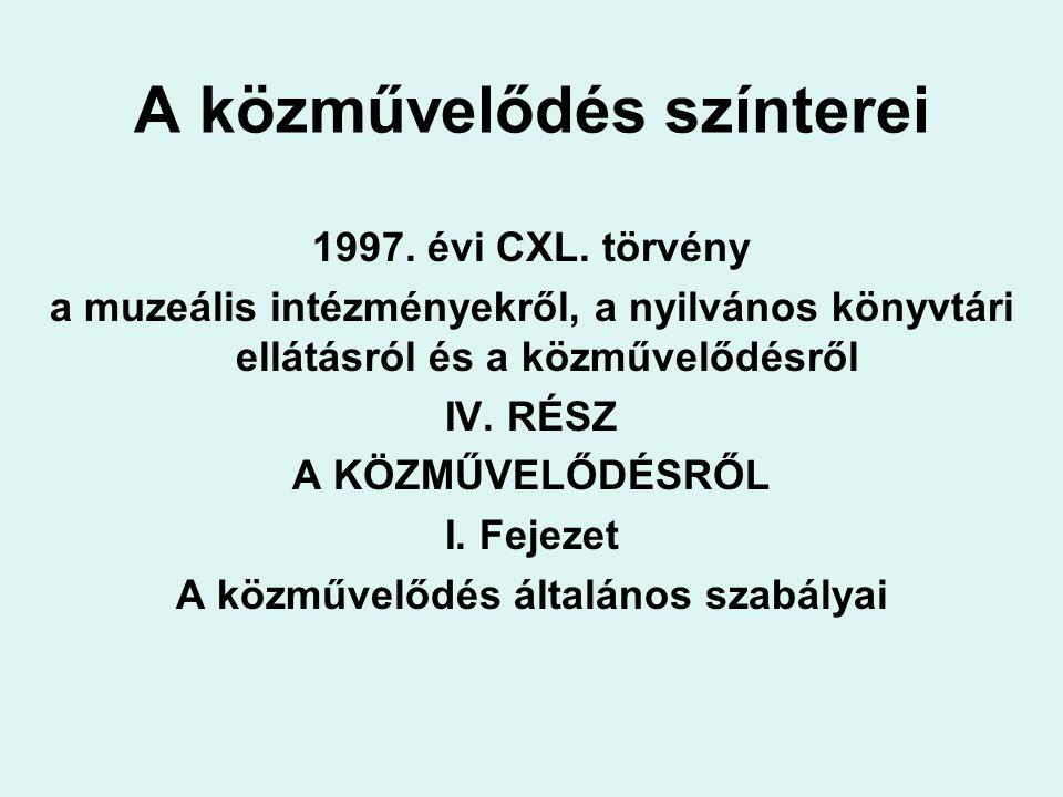 A közművelődés színterei 1997. évi CXL.