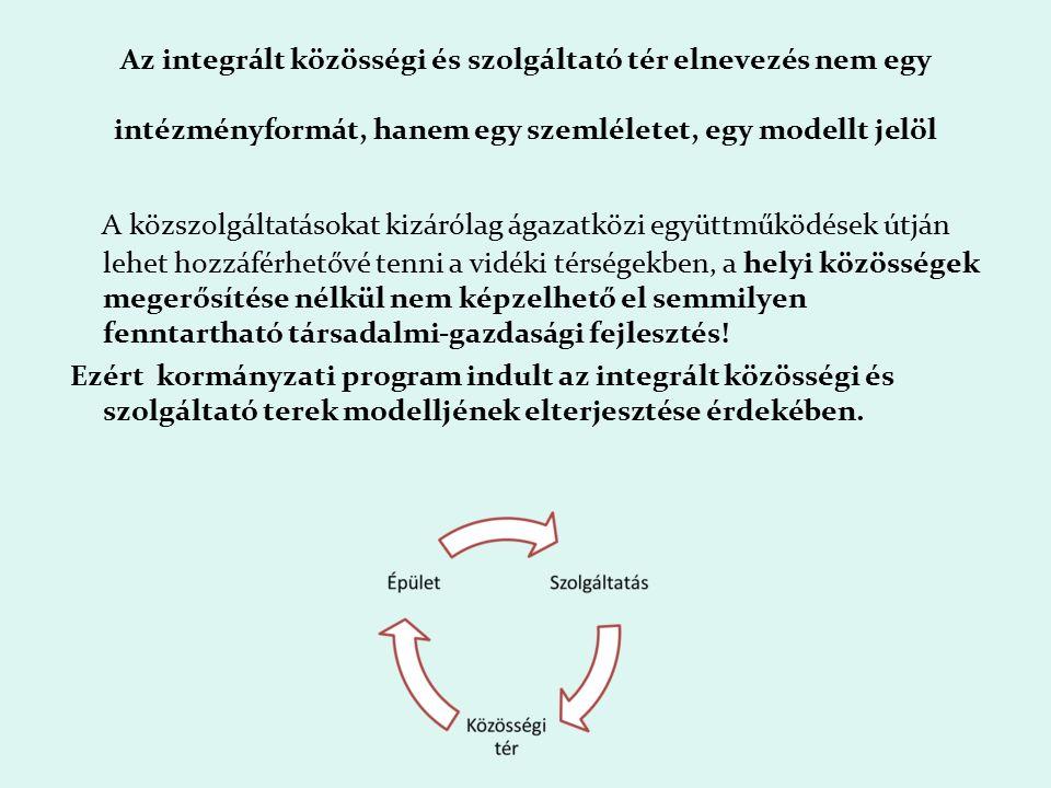 Az integrált közösségi és szolgáltató tér elnevezés nem egy intézményformát, hanem egy szemléletet, egy modellt jelöl A közszolgáltatásokat kizárólag ágazatközi együttműködések útján lehet hozzáférhetővé tenni a vidéki térségekben, a helyi közösségek megerősítése nélkül nem képzelhető el semmilyen fenntartható társadalmi-gazdasági fejlesztés.