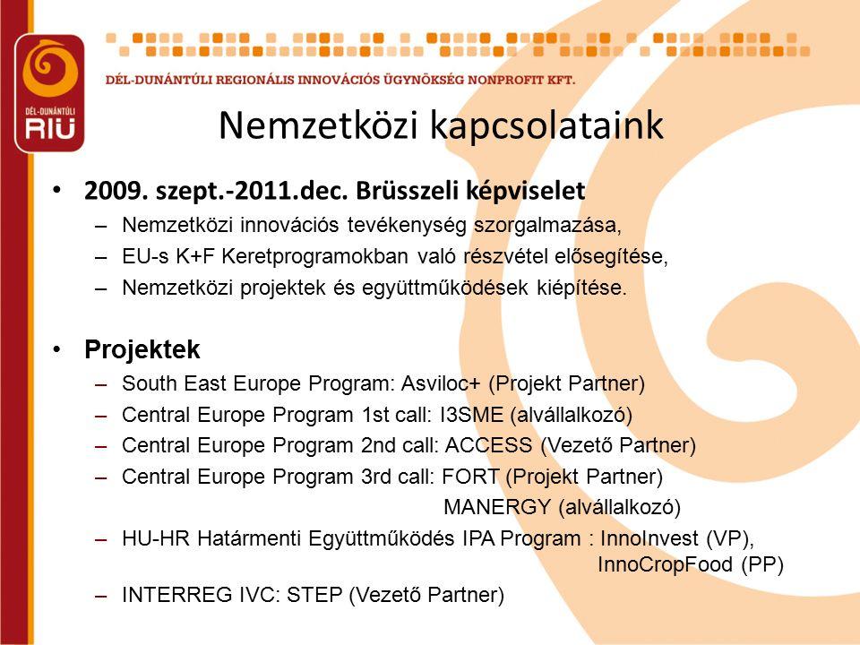 Nemzetközi kapcsolataink 2009. szept.-2011.dec. Brüsszeli képviselet –Nemzetközi innovációs tevékenység szorgalmazása, –EU-s K+F Keretprogramokban val