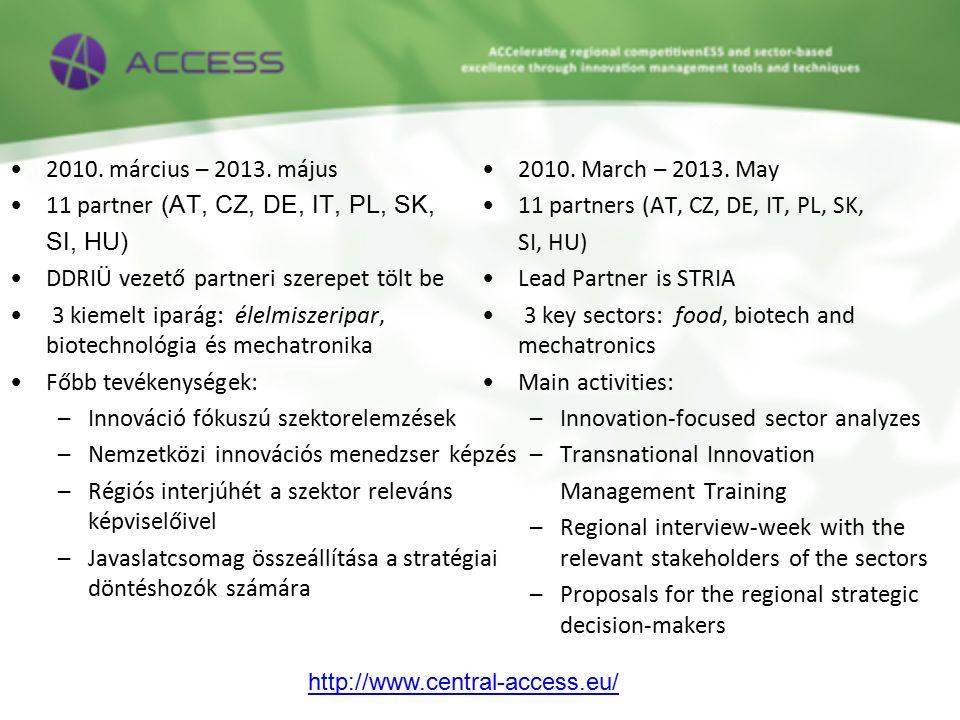 2010. március – 2013. május 11 partner (AT, CZ, DE, IT, PL, SK, SI, HU) DDRIÜ vezető partneri szerepet tölt be 3 kiemelt iparág: élelmiszeripar, biote