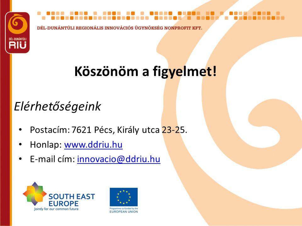 Köszönöm a figyelmet! Elérhetőségeink Postacím: 7621 Pécs, Király utca 23-25. Honlap: www.ddriu.huwww.ddriu.hu E-mail cím: innovacio@ddriu.huinnovacio